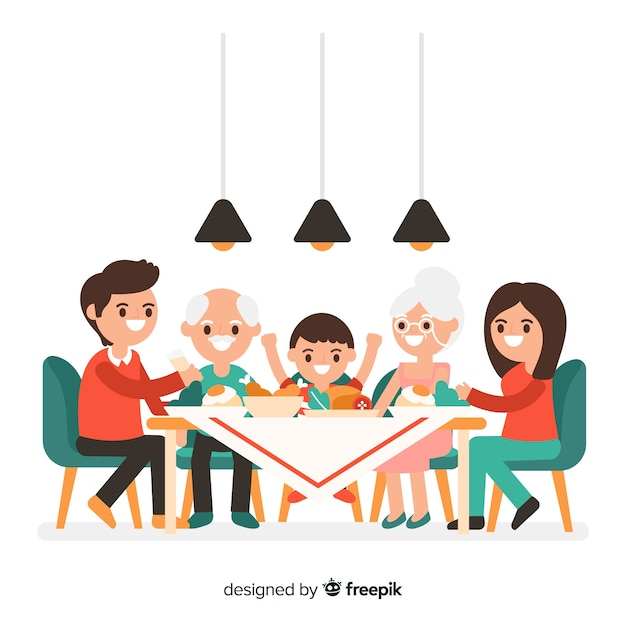 テーブルの周りの手描きの家族 無料ベクター