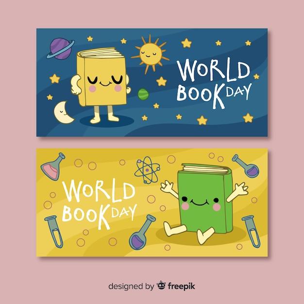 Ручной обращается всемирный день книги баннеры Бесплатные векторы