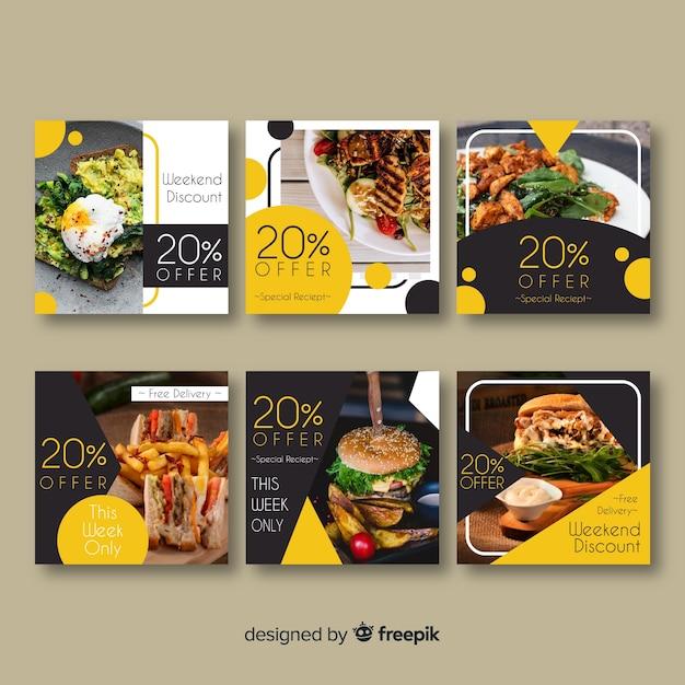 正方形の写真食品バナーセット 無料ベクター