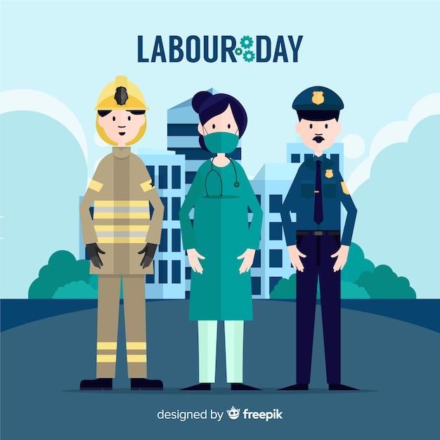 フラット労働日の背景 無料ベクター