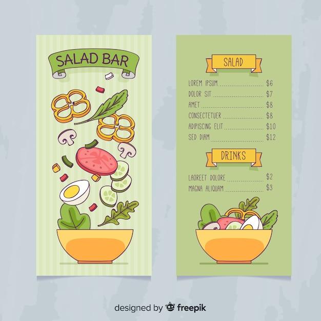 Ручной обращается салат здоровый шаблон меню Бесплатные векторы