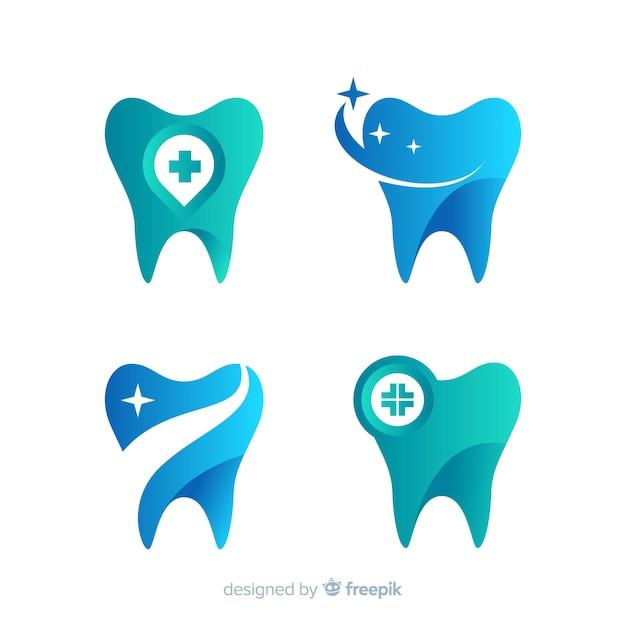 グラデーション歯科医院のロゴ 無料ベクター