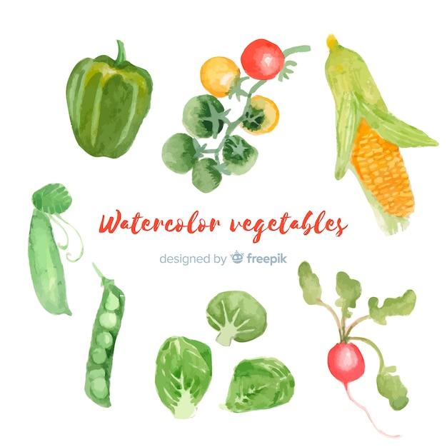 Акварельные овощи и фрукты фон Бесплатные векторы