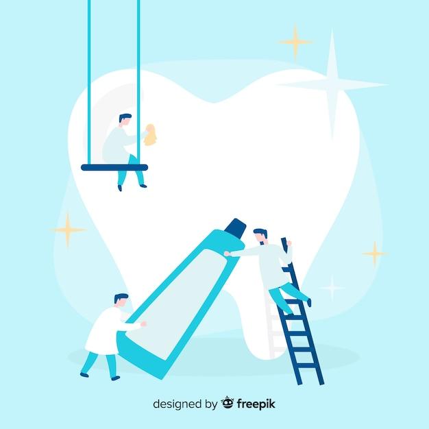 歯科医が歯の背景の世話をして 無料ベクター