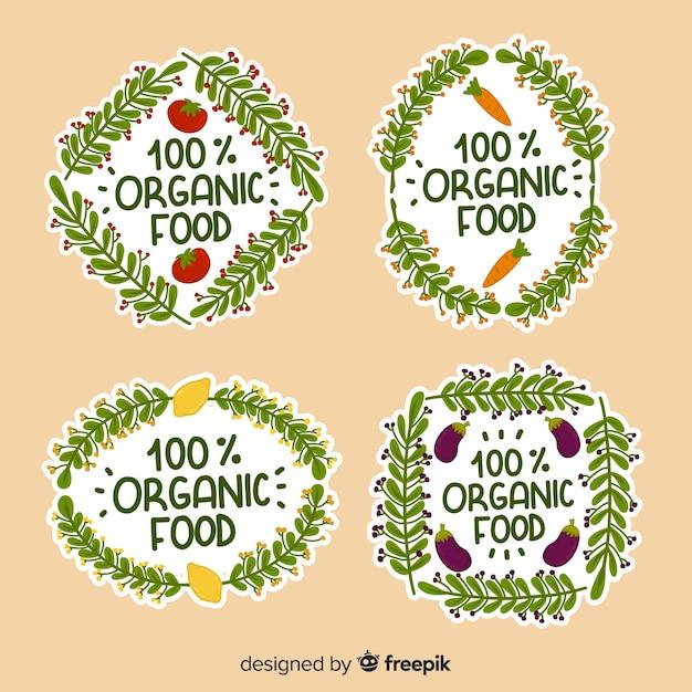 手描きの有機食品ロゴパック 無料ベクター