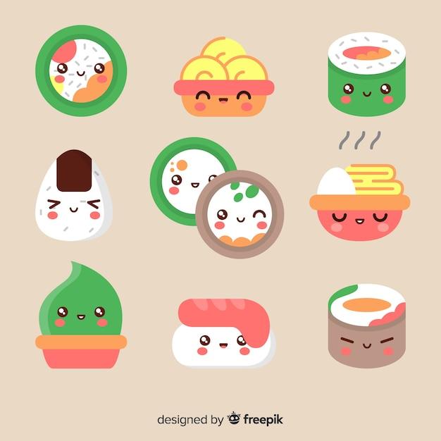 Упаковка кусочков суши каваи Бесплатные векторы
