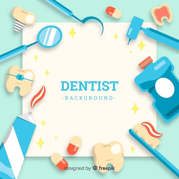 Фон плоский стоматолог Бесплатные векторы