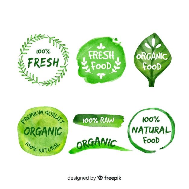Ручной обращается пакет логотипов органических продуктов питания Бесплатные векторы
