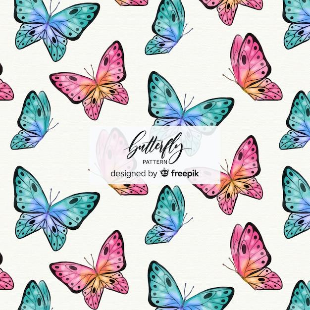 カラフルな蝶の背景 無料ベクター