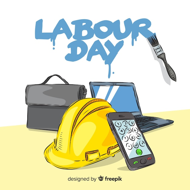 手描き労働日の背景 無料ベクター