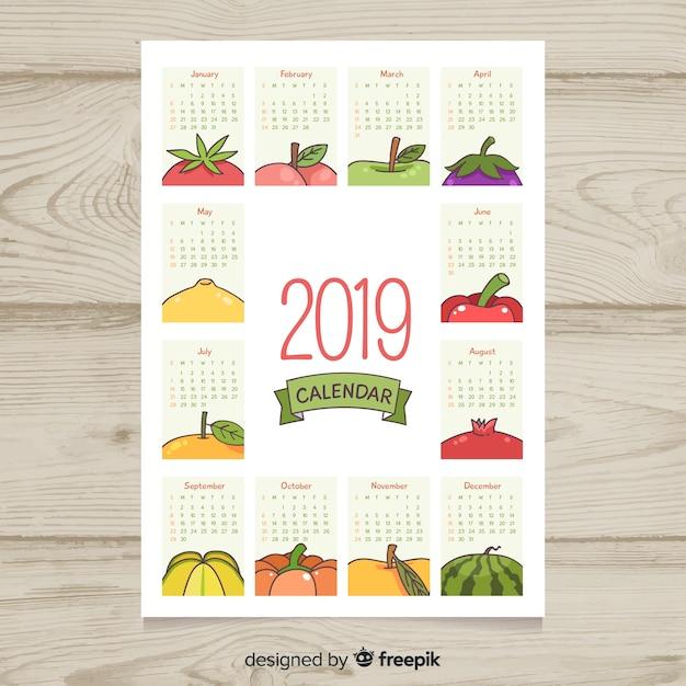 季節の果物と野菜のカレンダー 無料ベクター