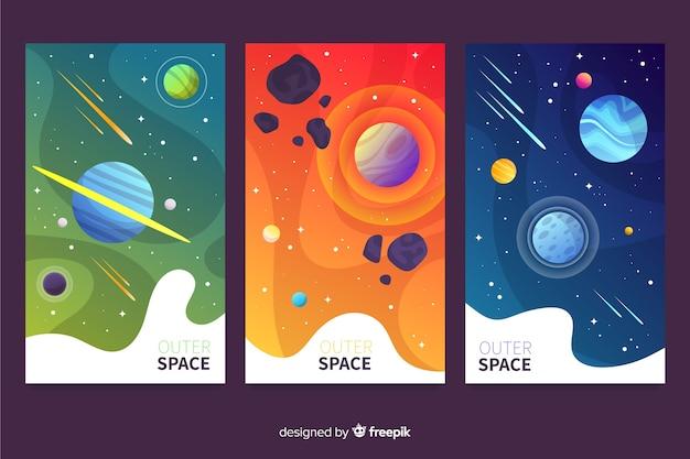グラデーション宇宙空間カバーコレクション 無料ベクター