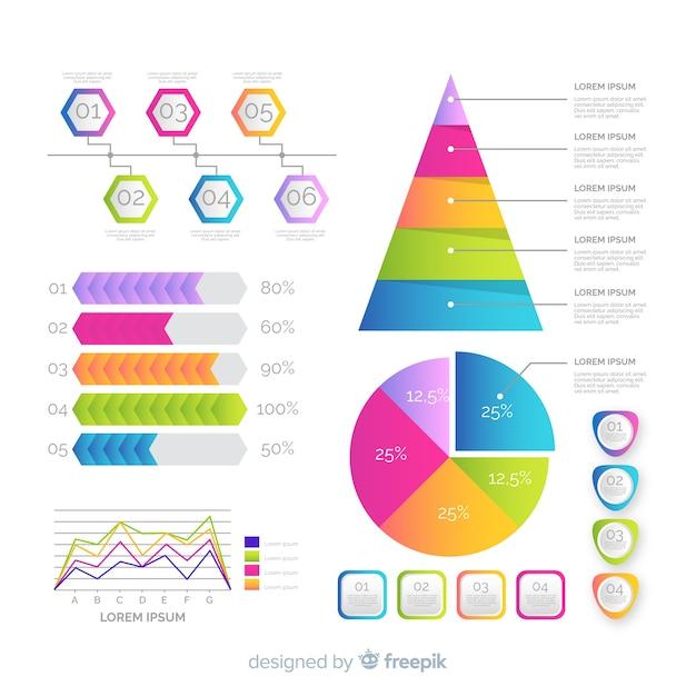 グラデーションインフォグラフィック要素 無料ベクター