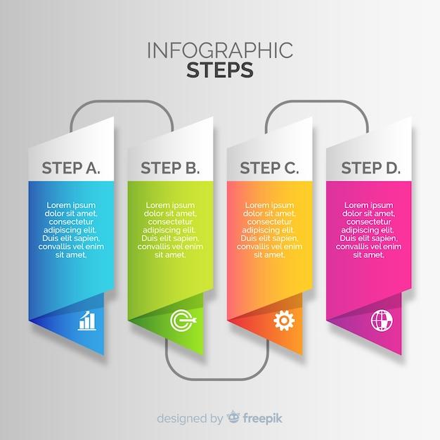 Градиентные инфографические шаги Бесплатные векторы