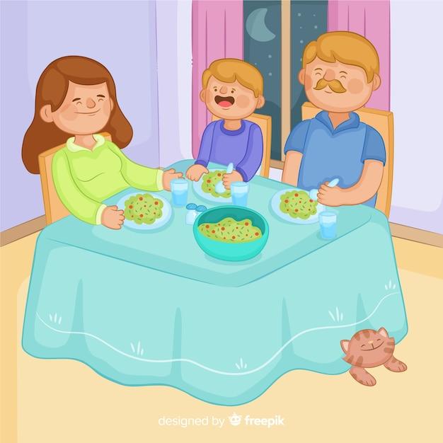 Анимация семья за столом