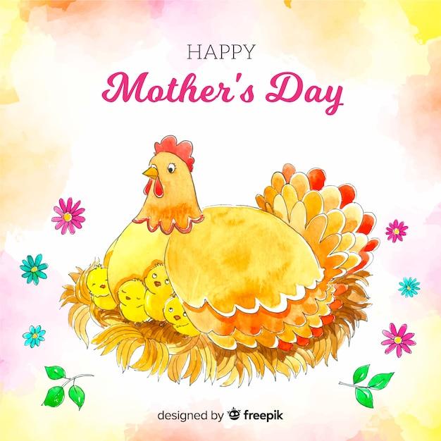 Акварельный день матери Бесплатные векторы