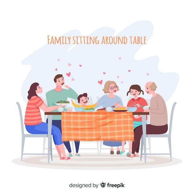 Семья сидит за столом Бесплатные векторы
