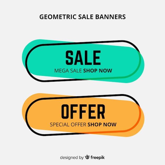 カラフルな幾何学的な販売バナー 無料ベクター
