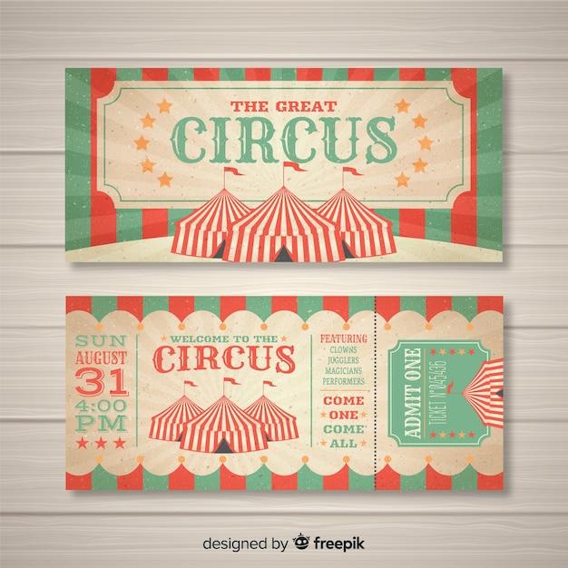 Винтажный цирковой билет Бесплатные векторы