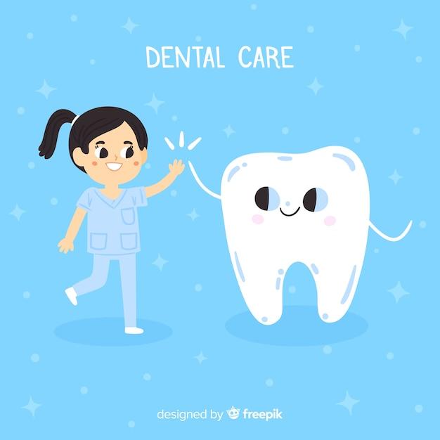 平らな歯科医の文字の背景 無料ベクター