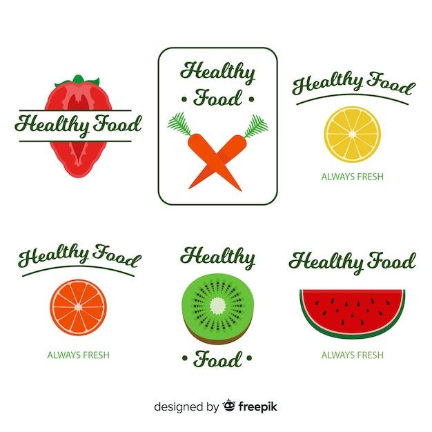 Плоские логотипы здоровой пищи Бесплатные векторы