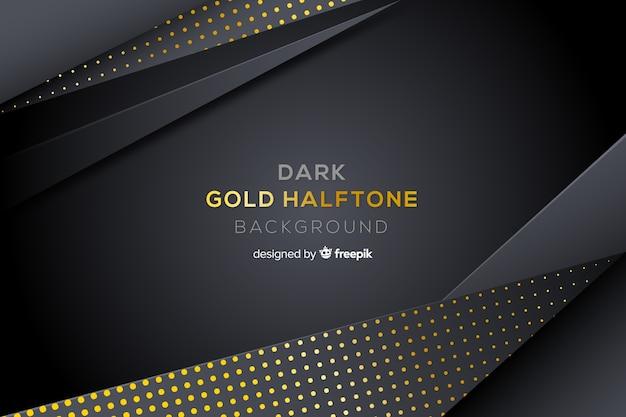 金色のハーフトーン効果と暗い背景 無料ベクター