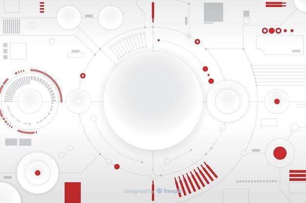 Бумажный круг с фоном печатной платы Бесплатные векторы