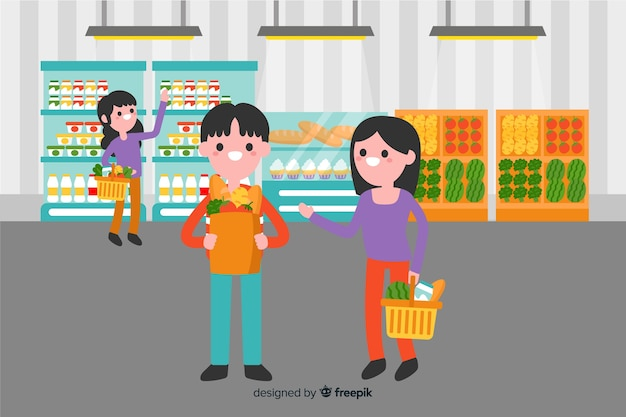 スーパーで平らな人 無料ベクター