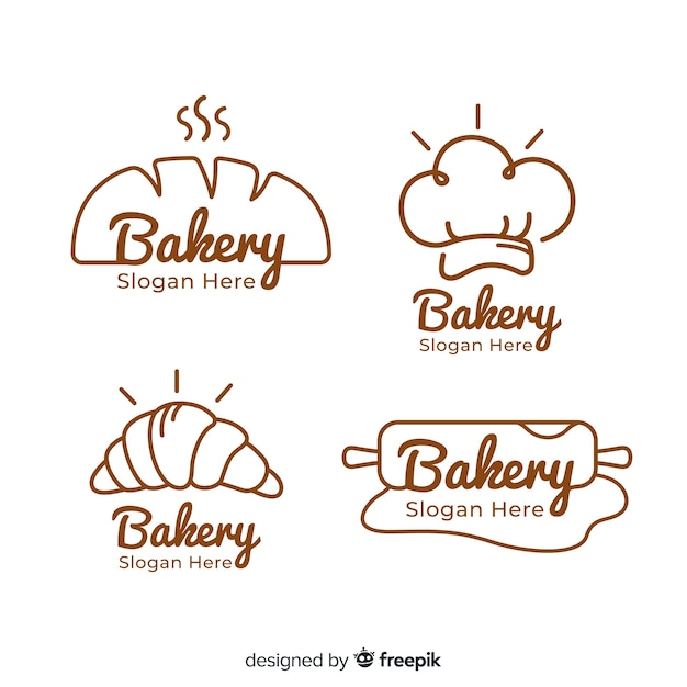 Ручной обращается хлебобулочные логотипы коллекции Бесплатные векторы