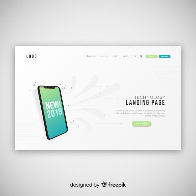 テクノロジデバイスを含む抽象ランディングページ 無料ベクター
