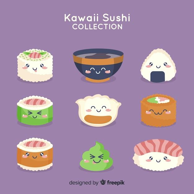 手描きの魅力的な寿司コレクション 無料ベクター