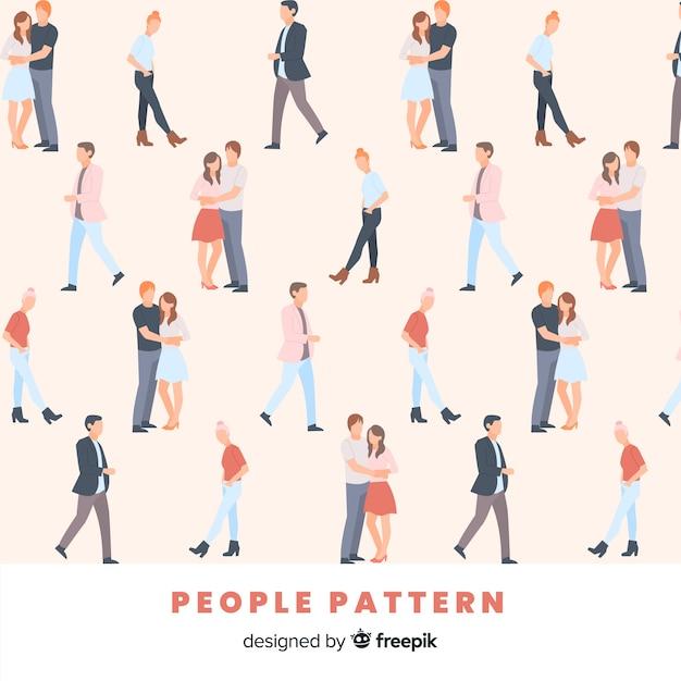 手描きの人々のパターン 無料ベクター