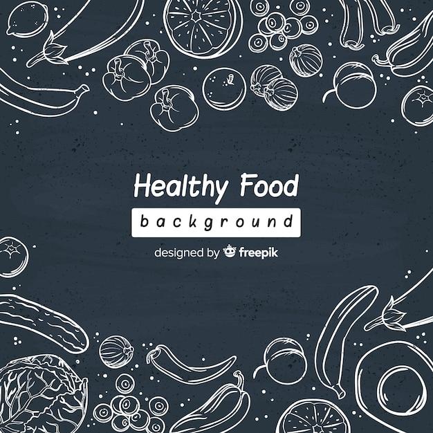 生鮮食品のチョークの背景 無料ベクター
