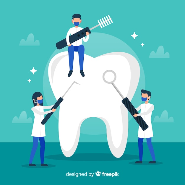 歯医者の大きな歯の背景のクリーニング 無料ベクター