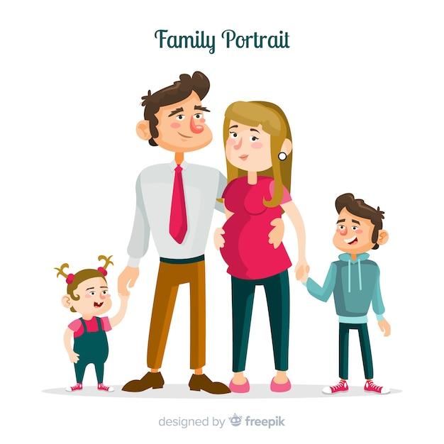 手描きの家族の肖像画 無料ベクター