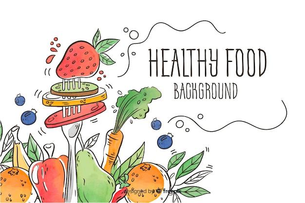 手描きのフォーク生鮮食品の背景 無料ベクター