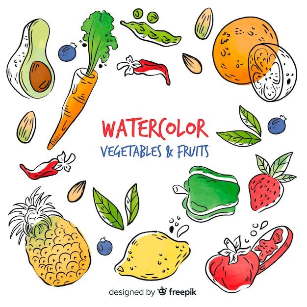 水彩の野菜や果物の背景 無料ベクター