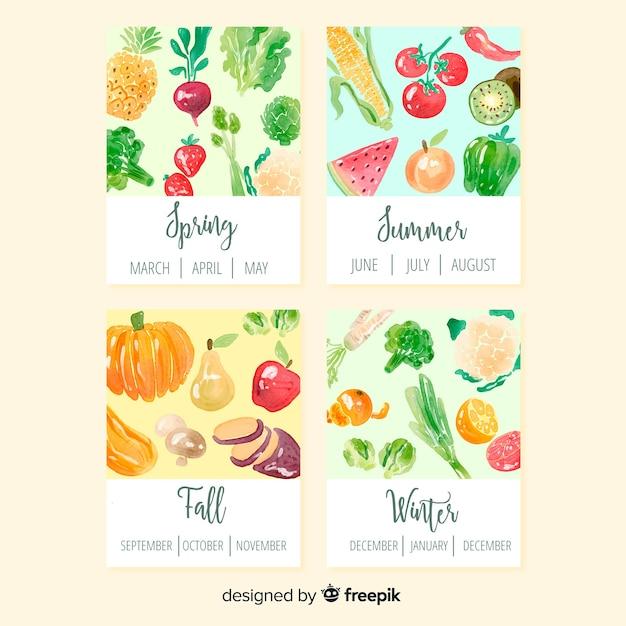 Красочный акварельный календарь сезонных овощей и фруктов Бесплатные векторы