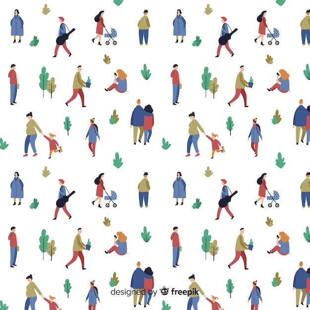 公園のパターンの人々 無料ベクター