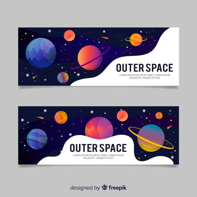 カラフルな手描き銀河バナーのテンプレート 無料ベクター