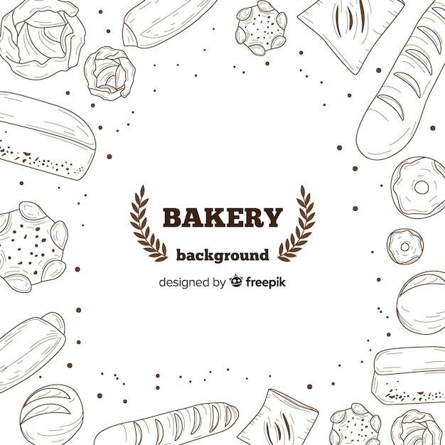 リアルな手描きのパン屋さんの背景 無料ベクター
