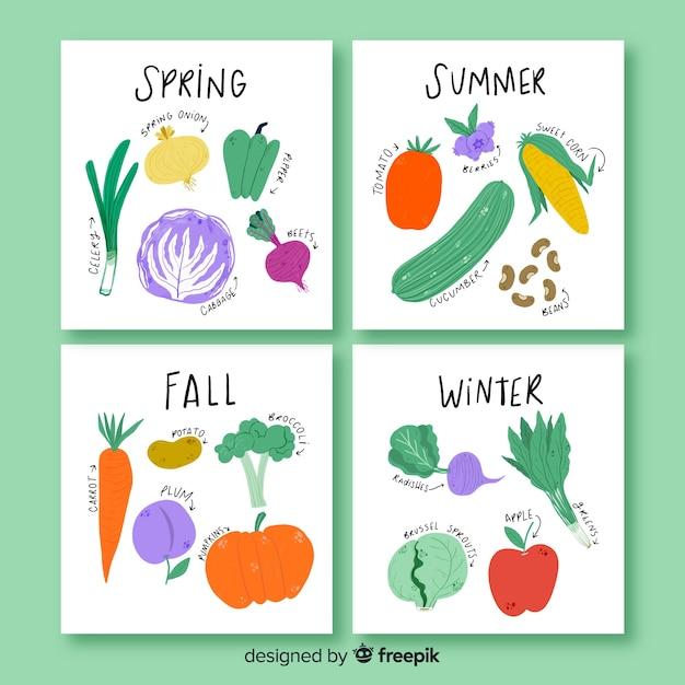 Ручной обращается календарь сезонных овощей и фруктов Бесплатные векторы