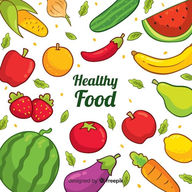 手描き健康食品の背景 無料ベクター