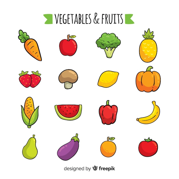 手描きの野菜や果物 無料ベクター