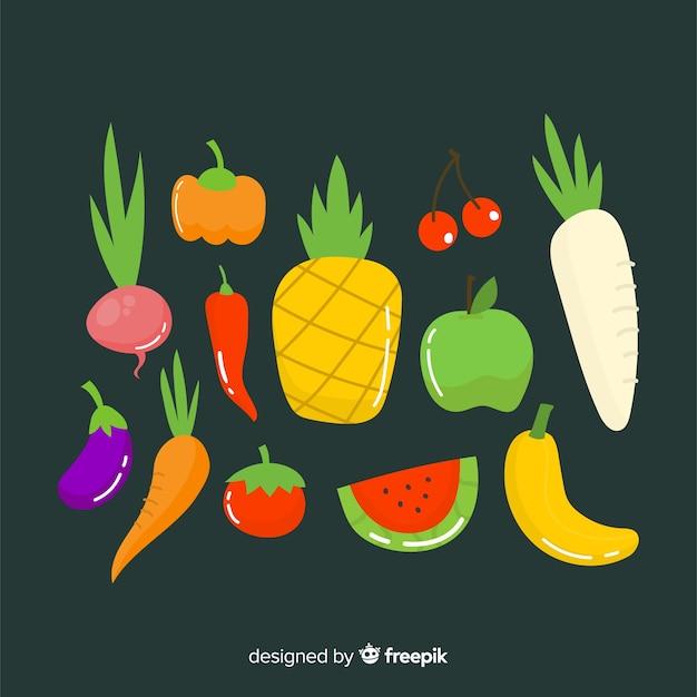 Овощи и фрукты Бесплатные векторы