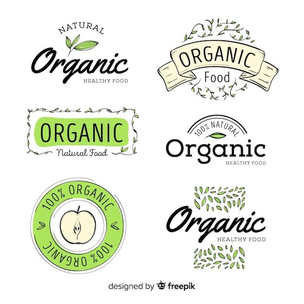 Нарисованный рукой комплект ярлыка натуральных продуктов Бесплатные векторы