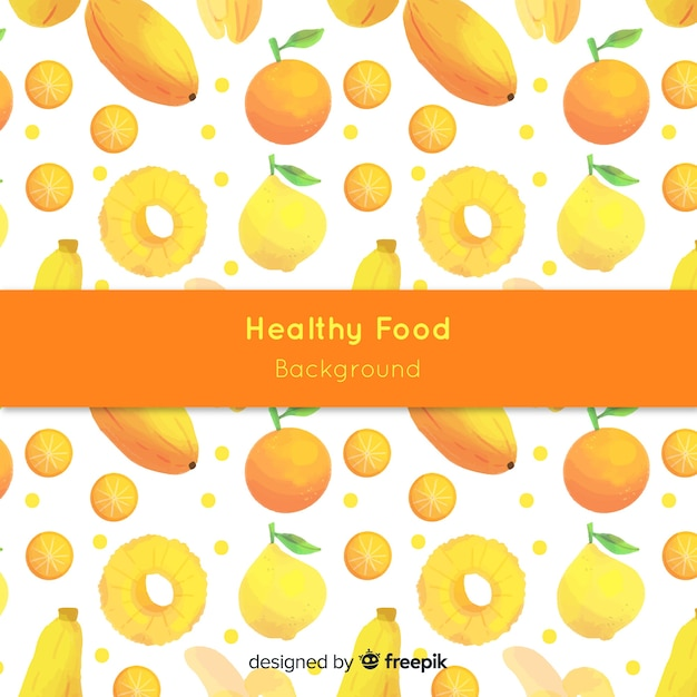 水彩の健康食品の背景 無料ベクター