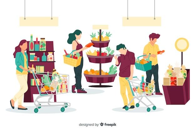 スーパーマーケットのバックグラウンドで買い物に描かれた人々を手します。 無料ベクター