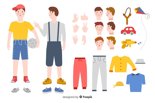 Мультфильм малыш для дизайна движения Бесплатные векторы