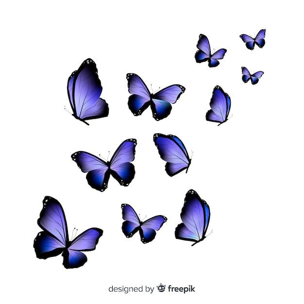 リアルな蝶グループの飛行 無料ベクター